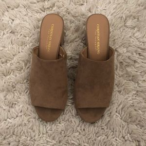 Chunky suede mule sandals